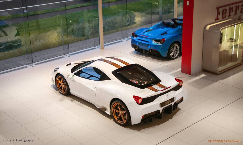 Ferrari 458 Speciale Brown Stripes In Showroom