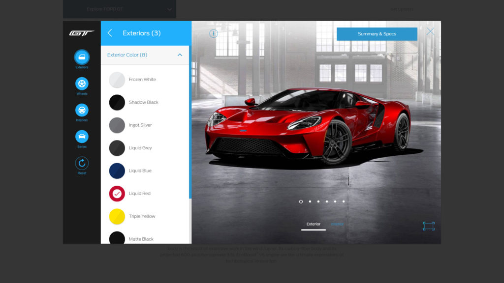 2017 Ford GT Configuration App
