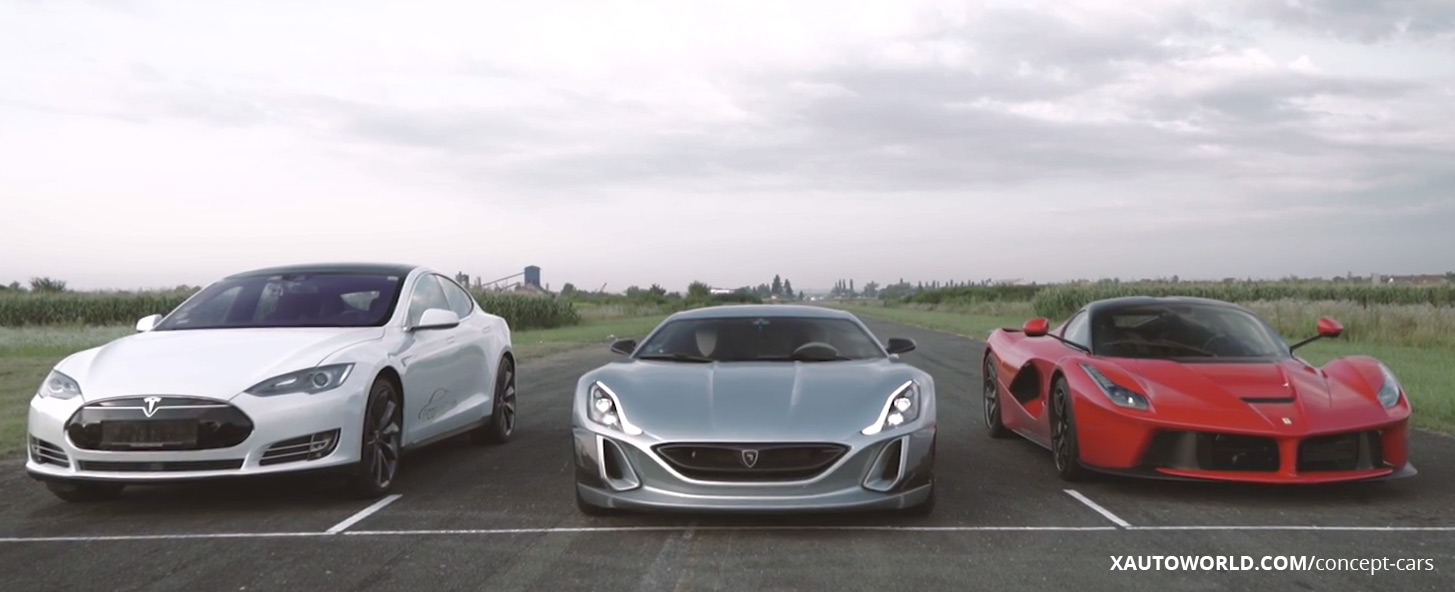 Drag Race Model X & LaFerrari vs Rimac Concept One