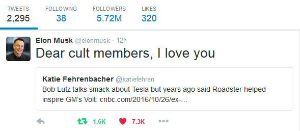 Dear Cult Members, I love you - Elon