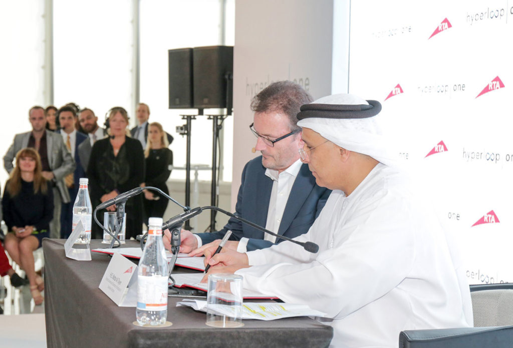 Hyperloop One CEO Rob Lloyd signed the deal with H.E. Mattar Al Tayer, RTA's Director General and Chairman of the Board of Executive Directors.