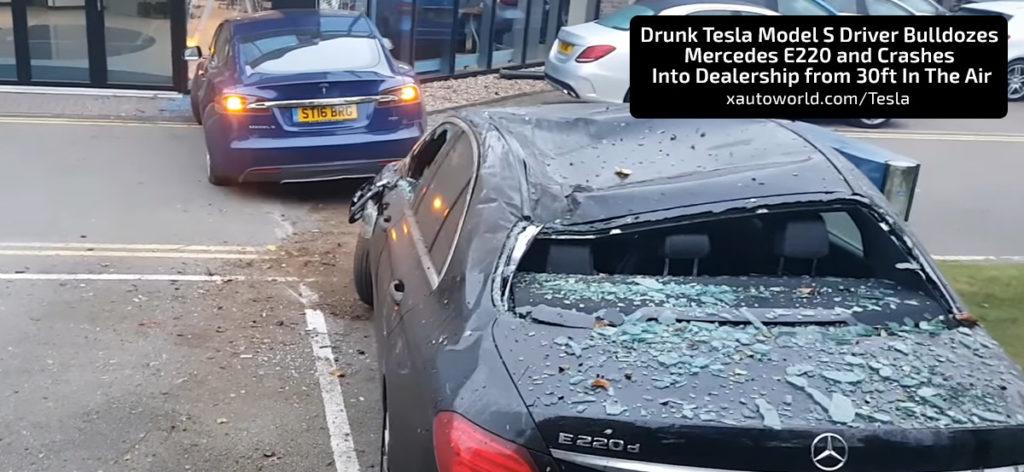 Model S Driver Crashes Mercedes Car & Dealership