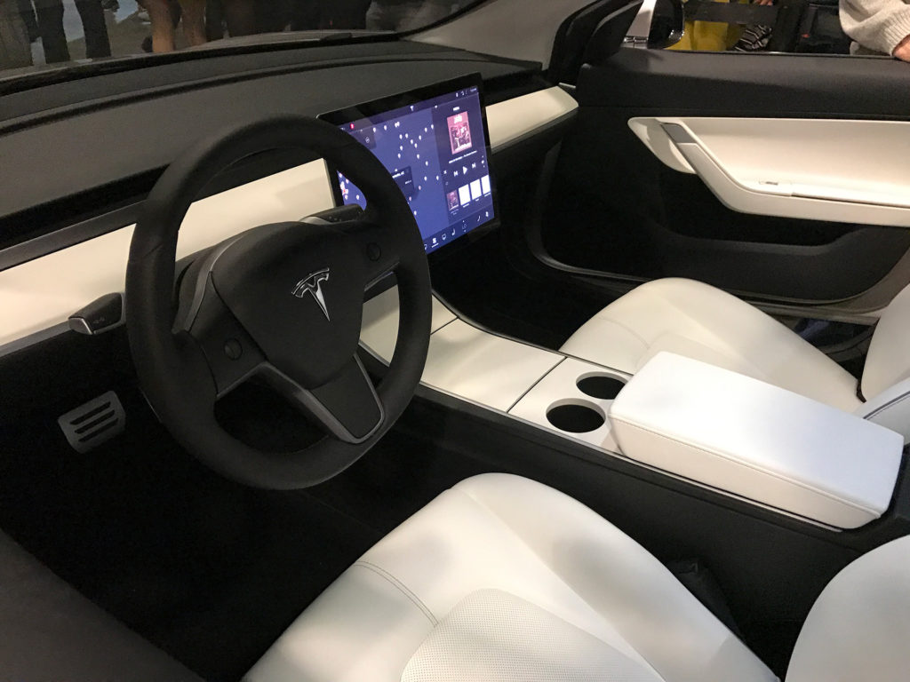New Model 3 Steering Closeup At Tesla Q3 Party