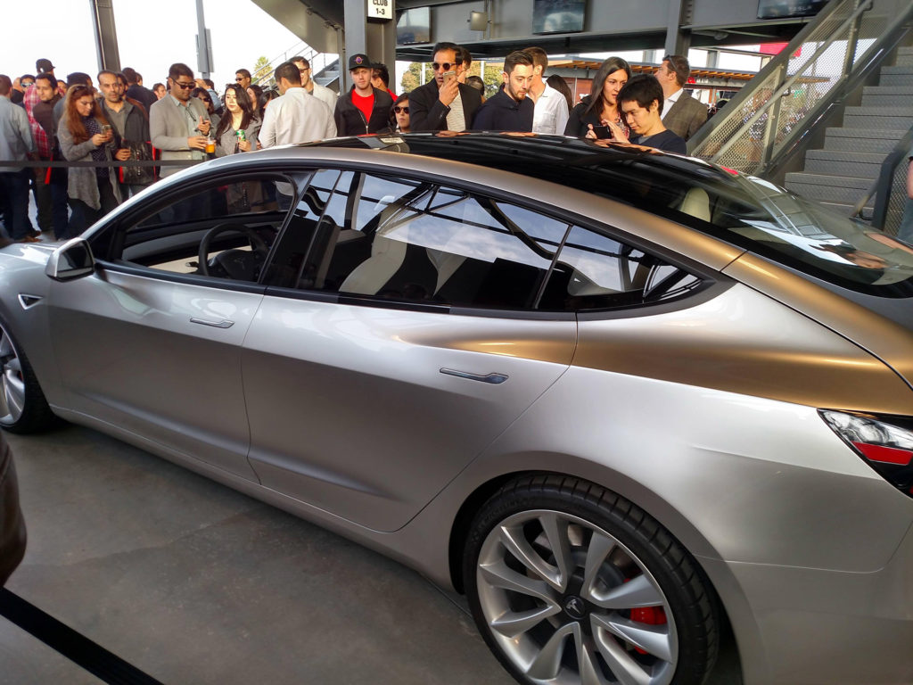 Tesla Model 3 Glassroof at Q3 Party