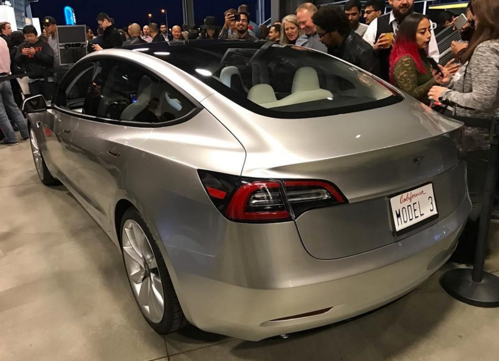 Tesla Model 3 Glassroof Rear View