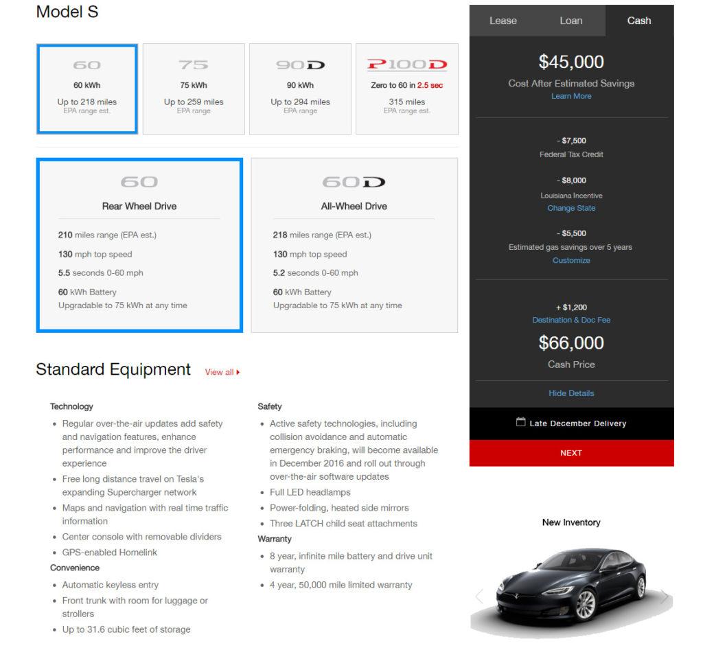Model S 60 at $45,000