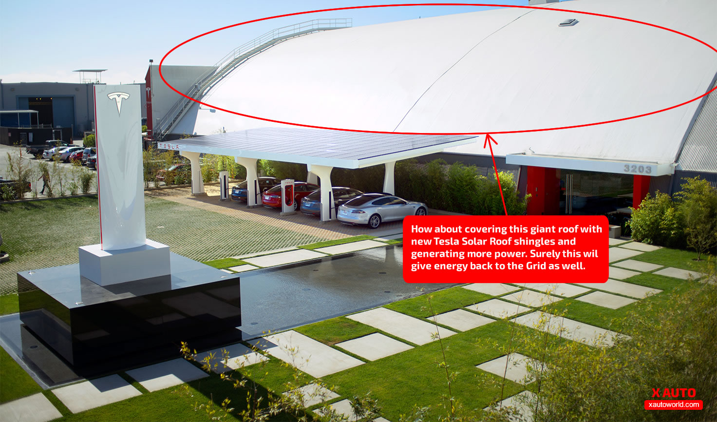 Idea: Hawthorne, CA Supercharger V3 station and the likes can generate more with Tesla's Solar Roof
