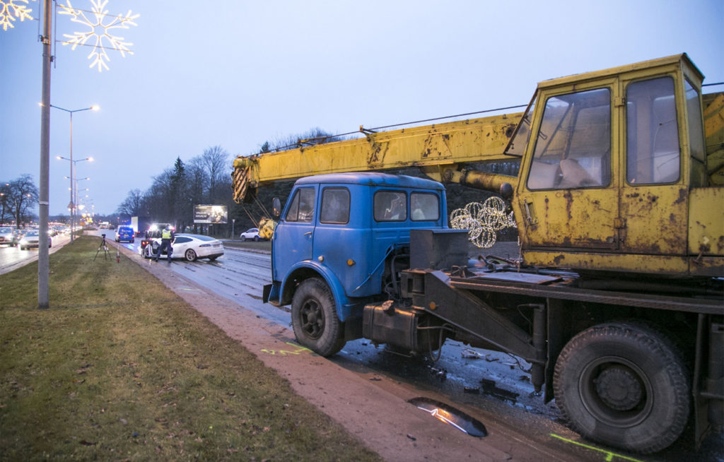 Soviet Kamazi Truck after hitting Tesla Model S