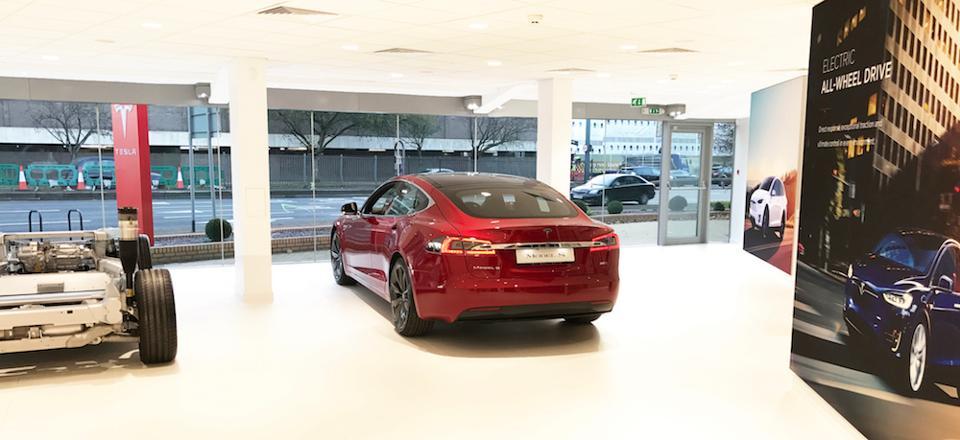 Red Model S at Tesla Showroom London Chiswick