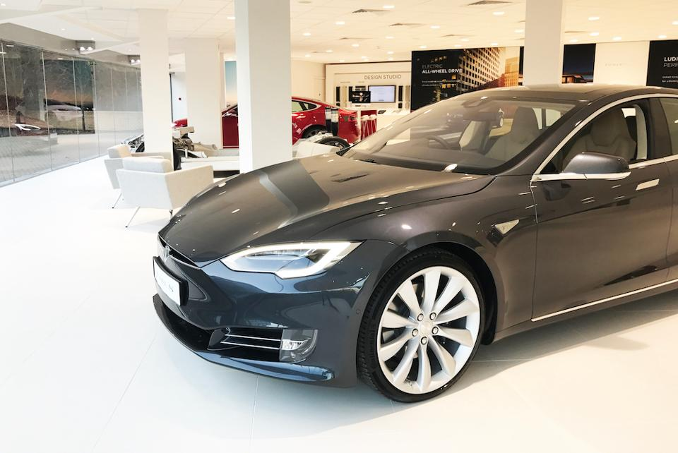 Black Model S in Tesla Chiswick London Showroom