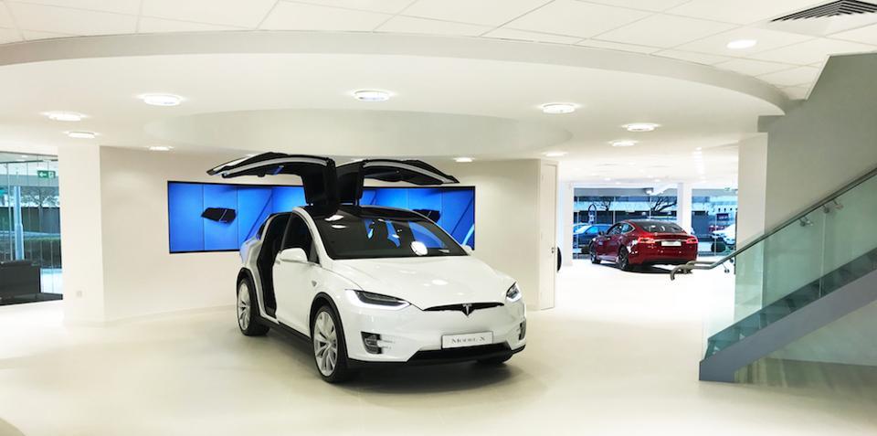White Model X at Tesla Showroom, Chiswick London