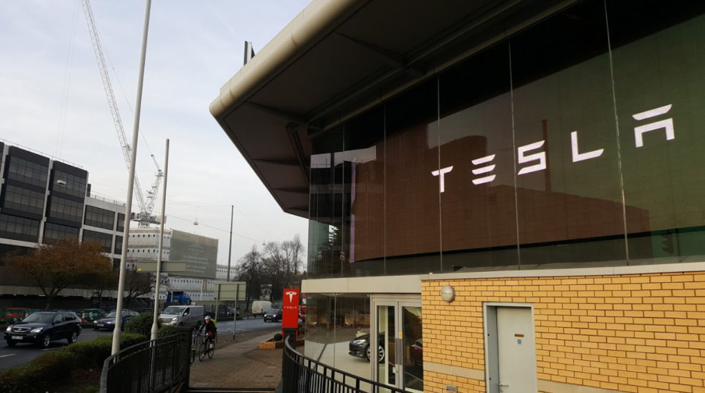 Street view of Tesla Showroom Chiswick London