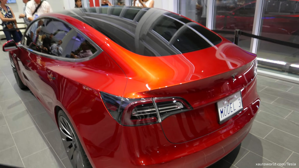 Model 3 Prototype In Orange At Gigafactory