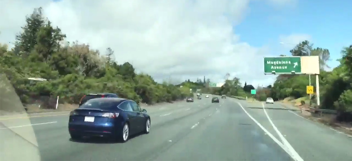 Blue Tesla Model 3 Spotted Running On Highway