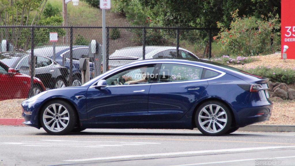 Blue Model 3 Spotted by Motor1.com