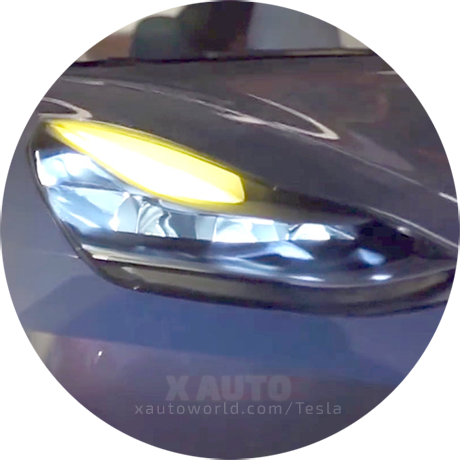 Tesla Model 3 Headlights On The Prototype