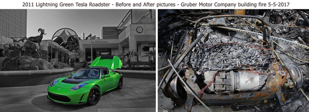Tesla Roadster before and after the fire at Gruber Motor Company