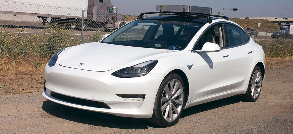 Tesla Model 3 testing with a roof rack system