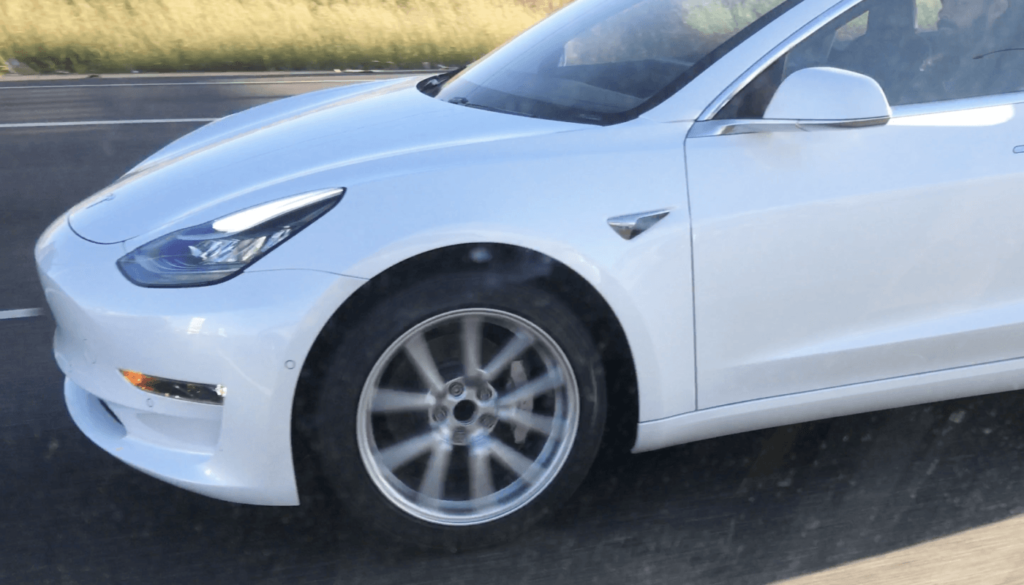 White Model 3 Front Side in spy video