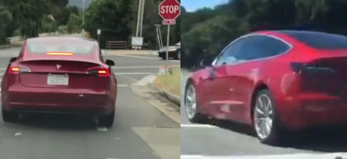 Tesla Model 3 spotted in regular red and signature red colors