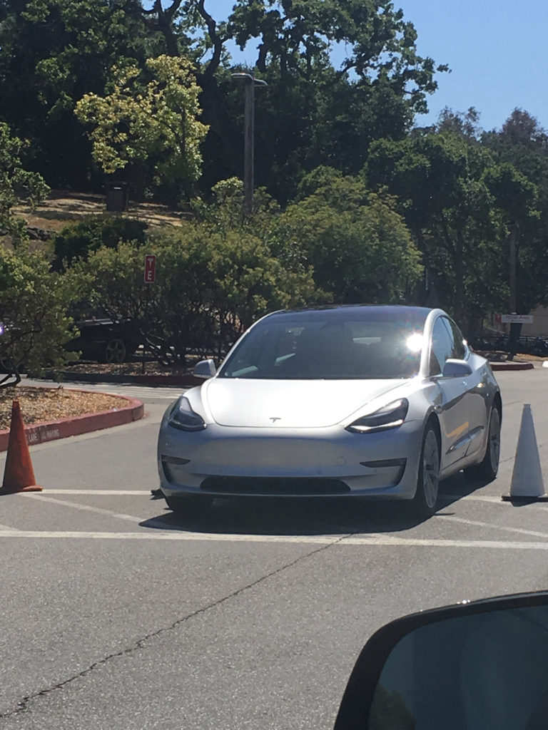 Sliver Model 3 leaked photos from Tesla HQ - Front View