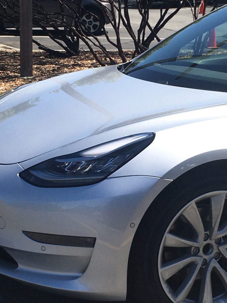 Sliver Model 3 leaked photos from Tesla HQ - Headlight Closeup
