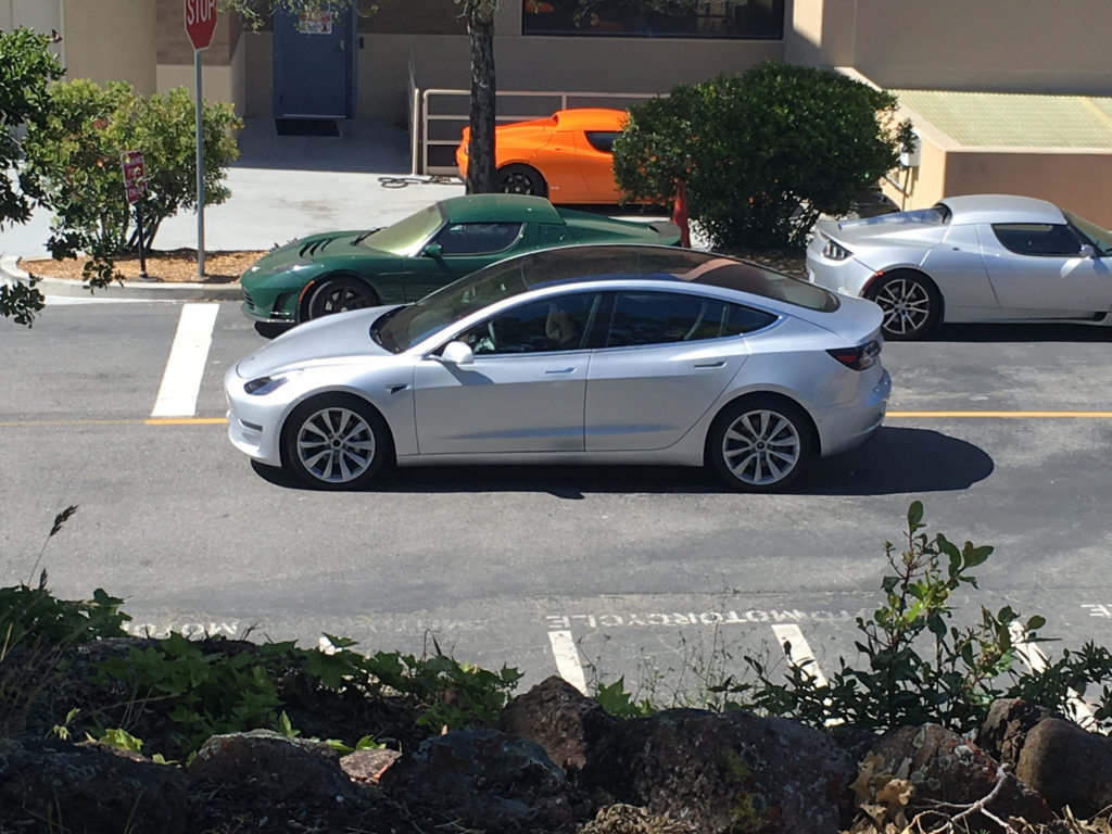 Sliver Model 3 leaked photos from Tesla HQ - Side View Full Profile