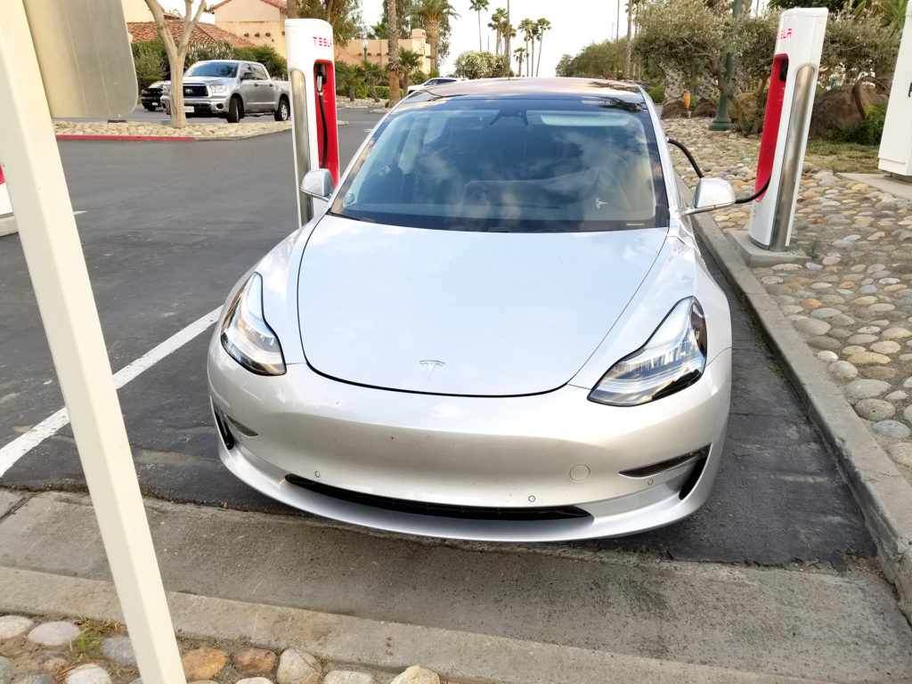Tesla Model 3 Front View - Spotted at Harris Ranch, CA