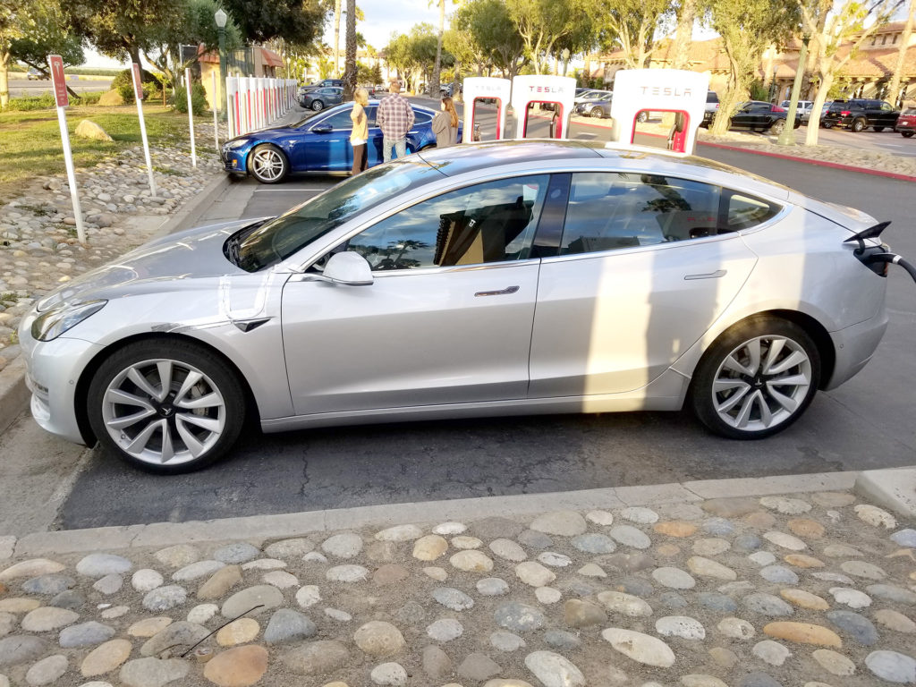 Tesla Model 3 Side View - Spotted at Harris Ranch, CA