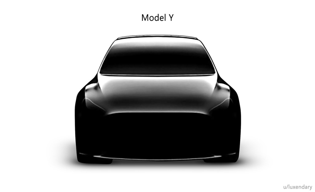 Tesla Model Y teaser photo isolated from background by over-exposure