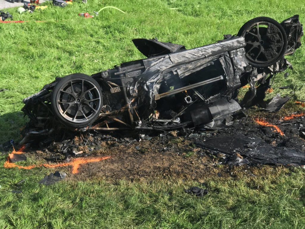 Rimac Concept One after crash and burn in Switzerland at the filming of The Grand Tour
