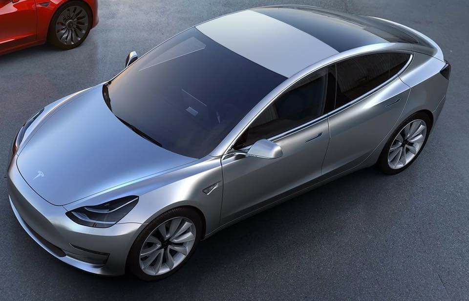 How a Tesla Model 3 would look like with a solid metal roof