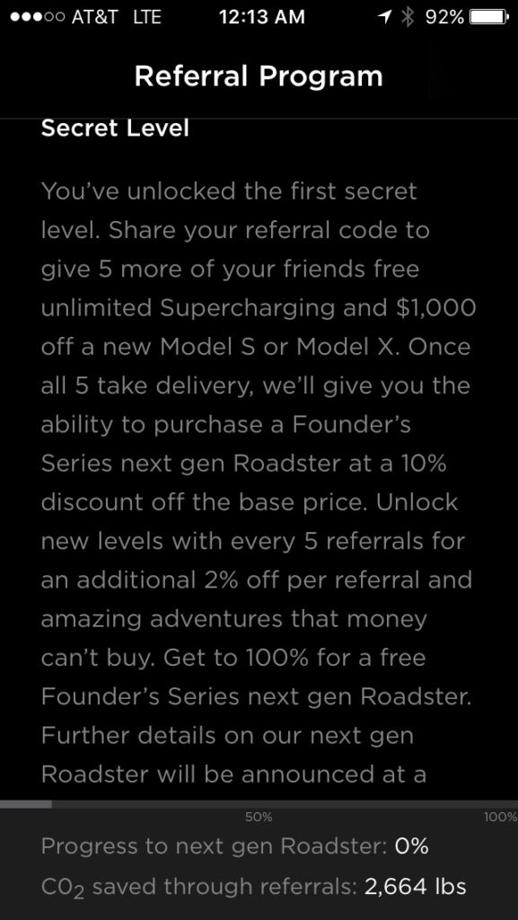 Tesla App Screenshot for Next Gen Free Roadster Referral Plan - Page 2