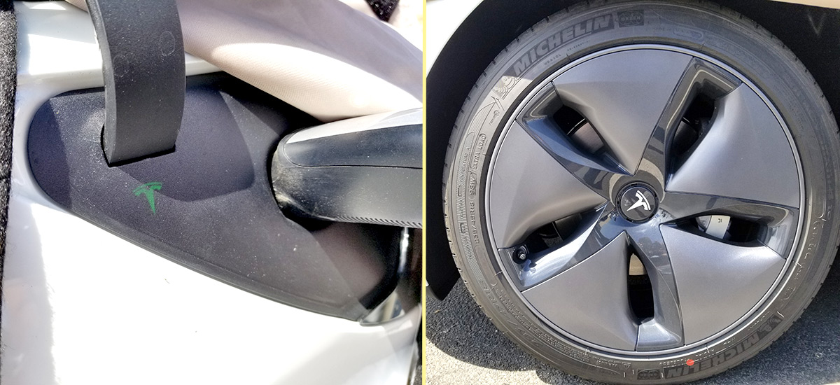 Closest photos of the Tesla Model 3 charge port flap and aero wheels