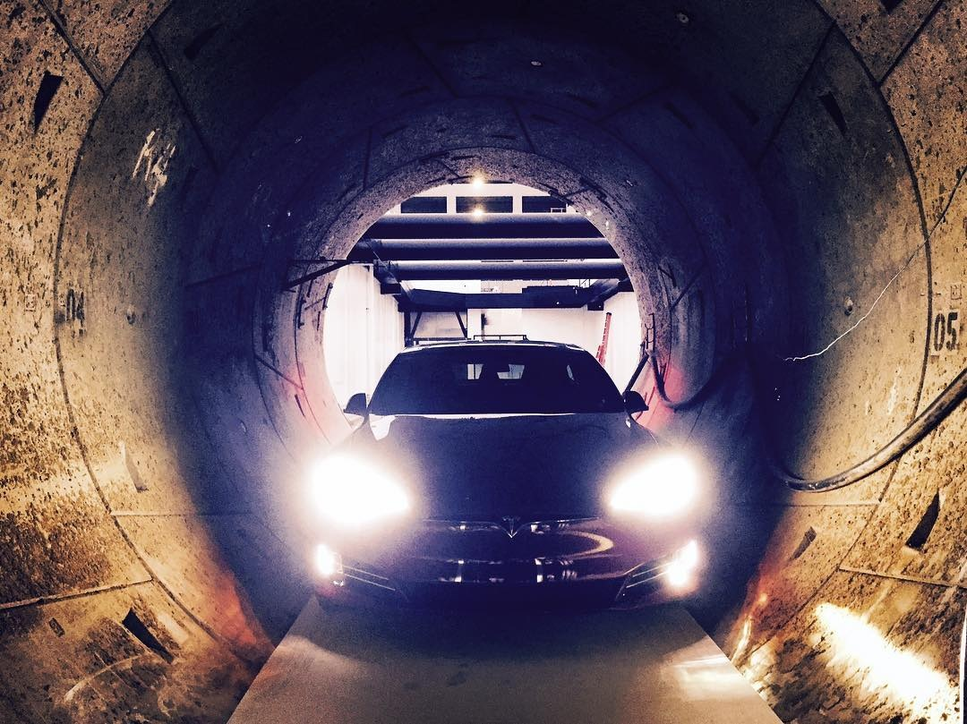 Tesla Model S standing inside the Boring Company's test tunnel. Photo by: Elon Musk via Instagram