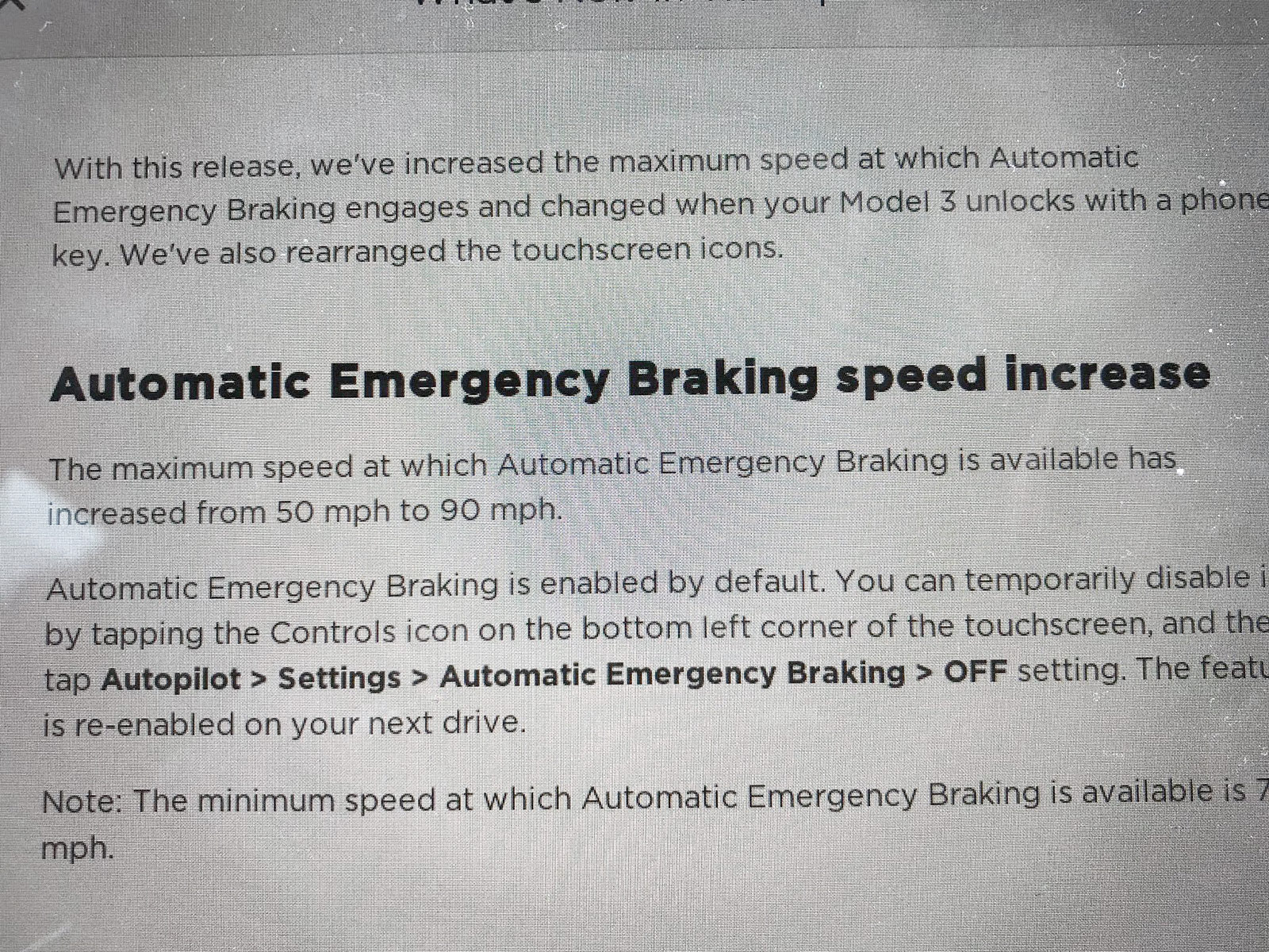 Tesla Model 3 - Automatic Emergency Braking Increased to 90 mph