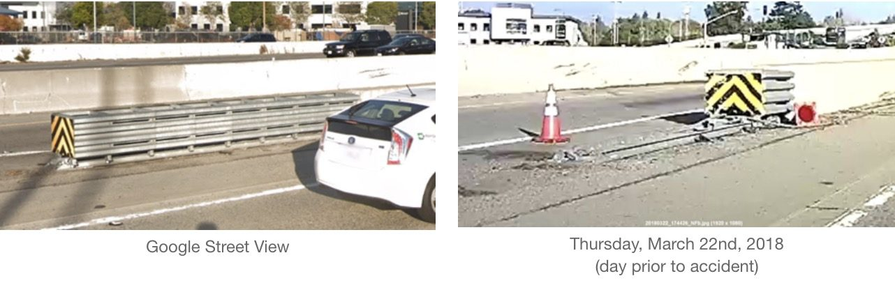 Tesla Model X Mountain View crash site - Attenuator removed