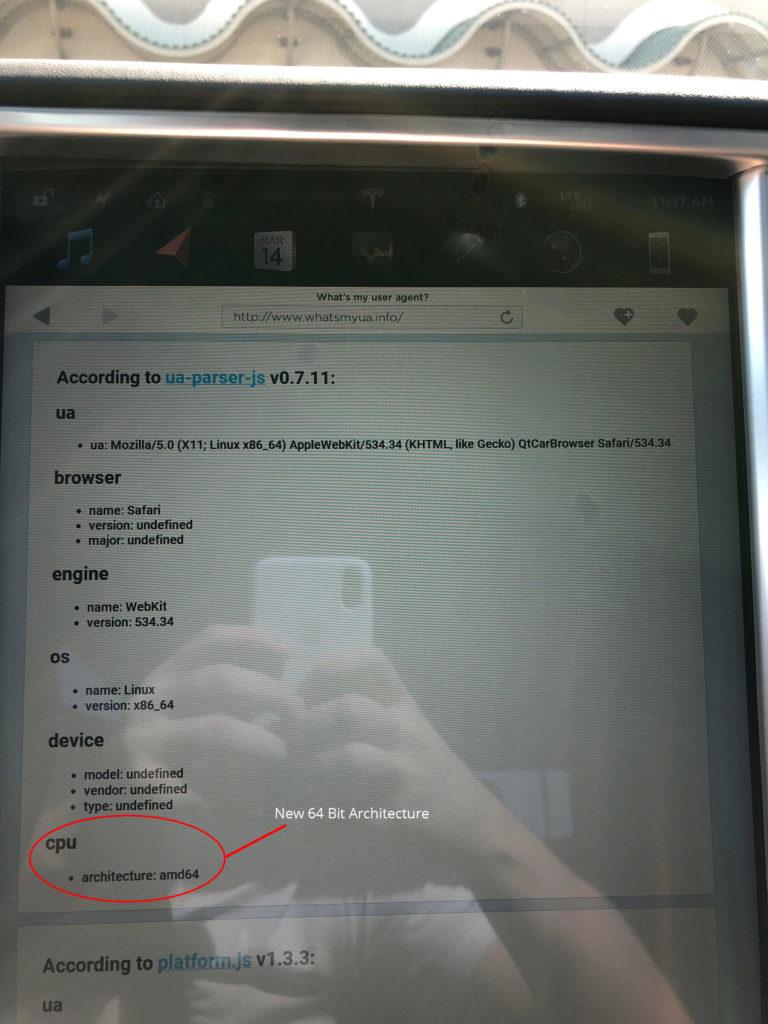 Screen-shot of the new Model S MCU processor