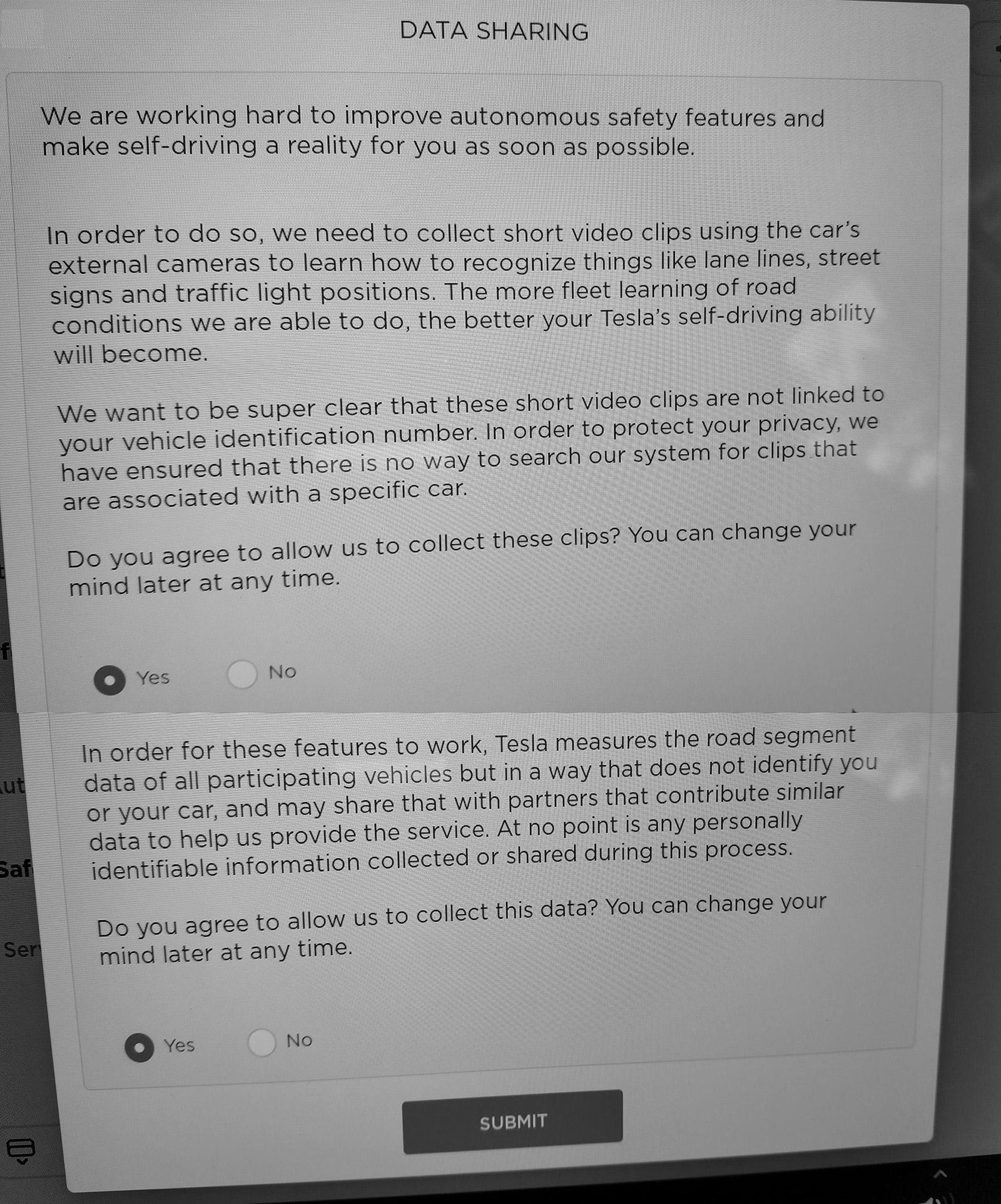 Tesla Autopilot video clip sharing opt-in/out dialogue box screenshot.