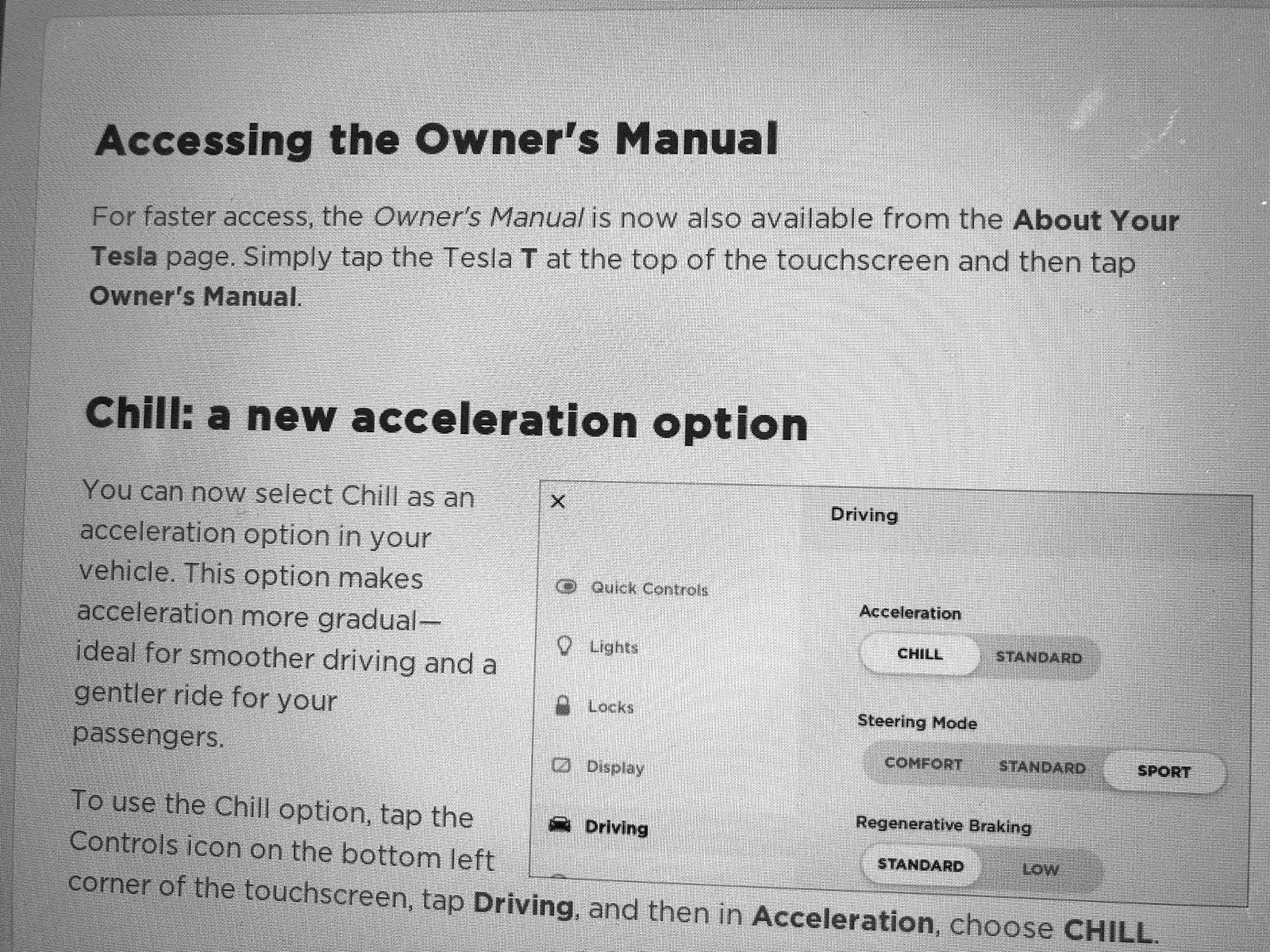 Tesla Model 3 Chill Mode release notes