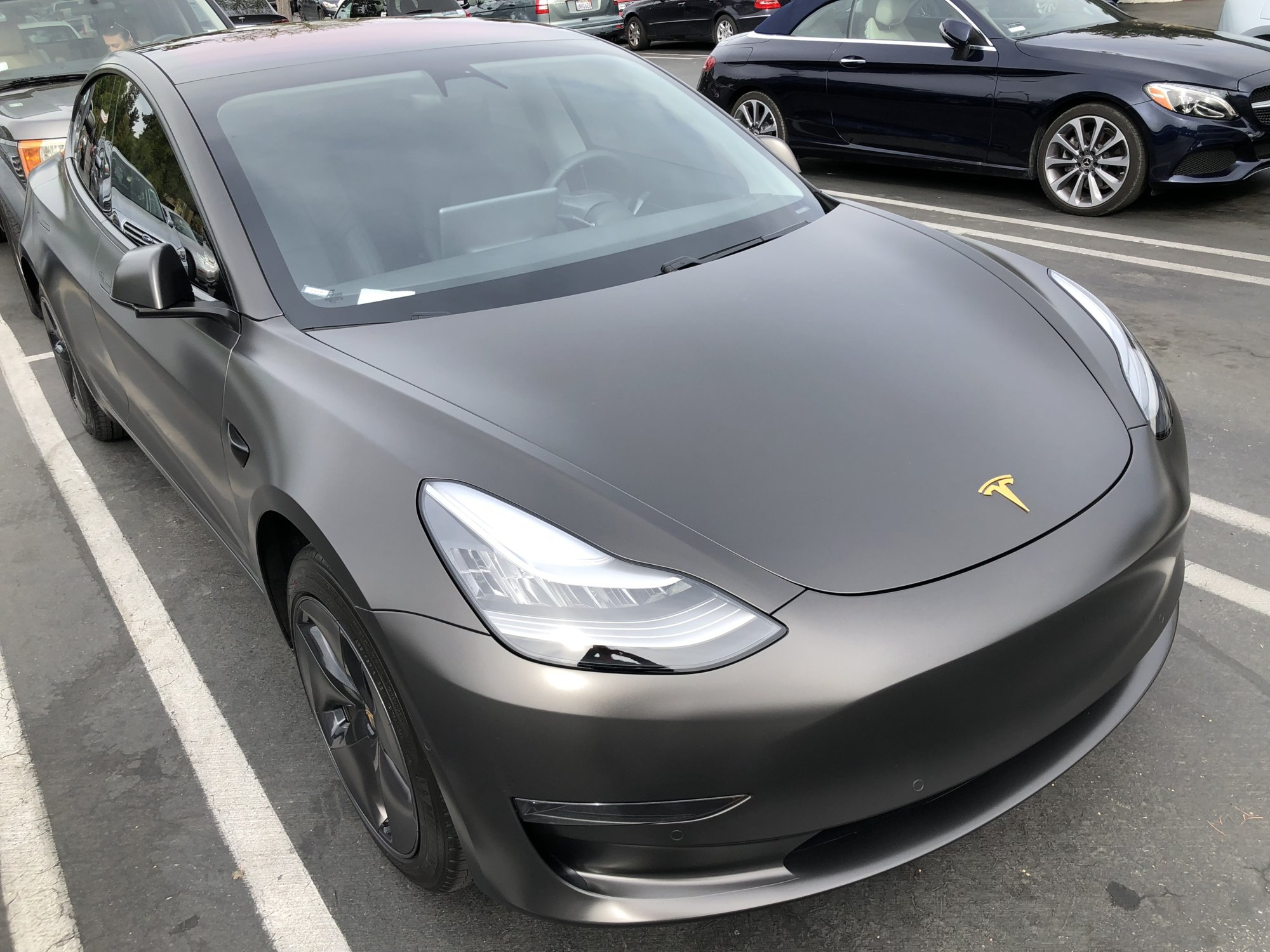 Sating Gray Wrapped Tesla Model 3 - Front View