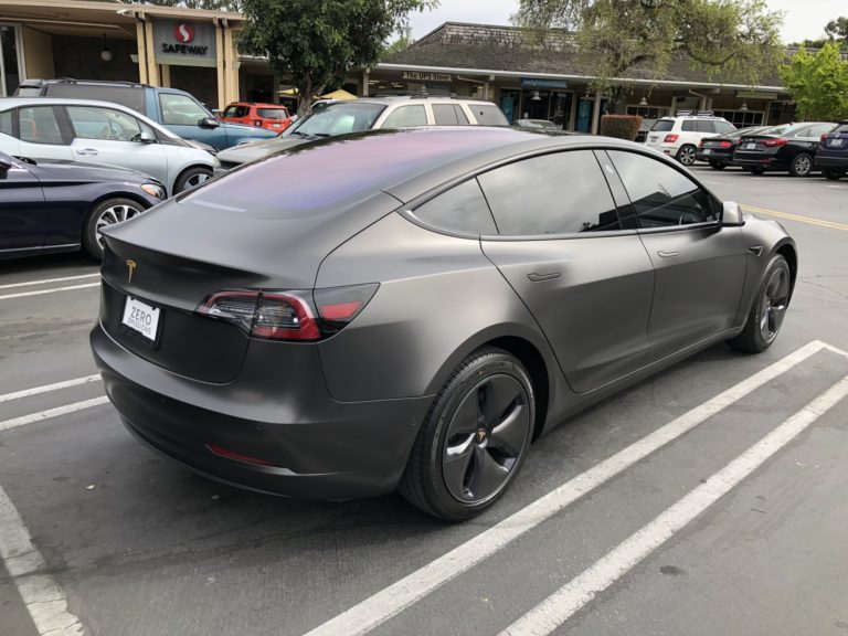 This satin gray 3M wrap turns Tesla Model 3 into a rock star