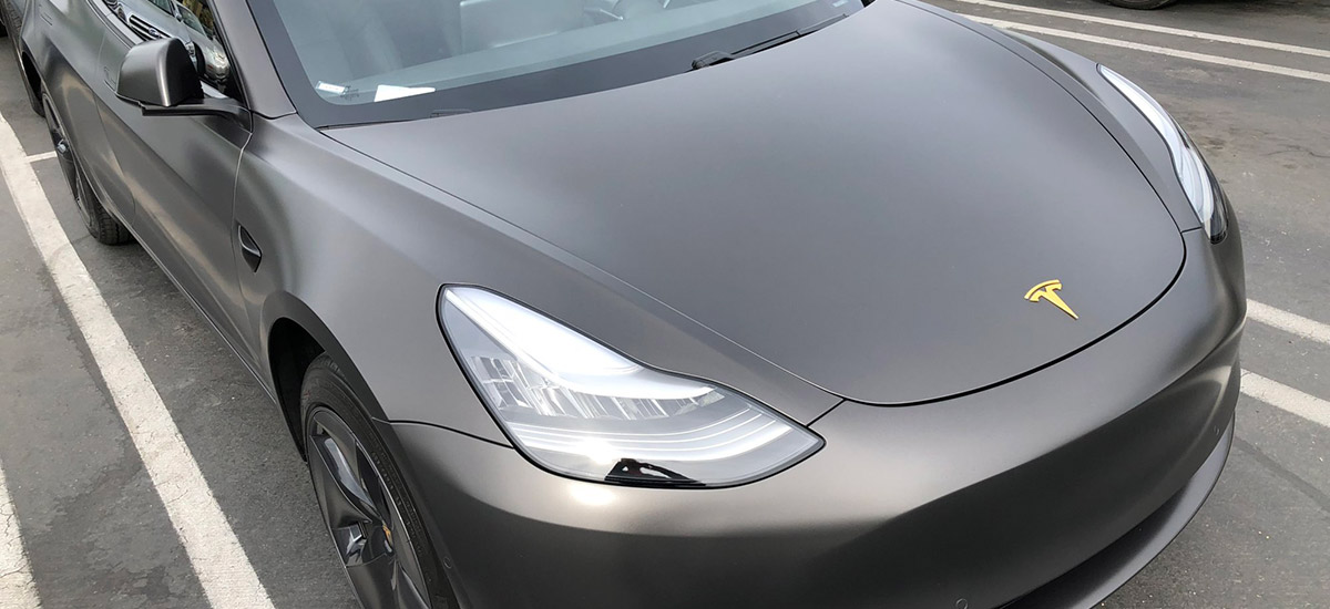 Custom Tesla Model 3 with 3M Satin Gray wrap