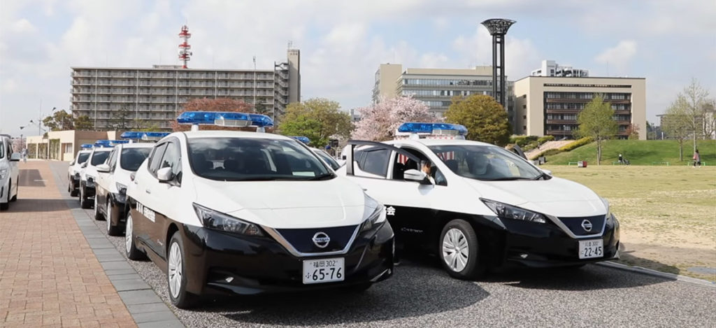 Nissan Leaf as Traffic Police patrol cars in Fukuoka, Japan