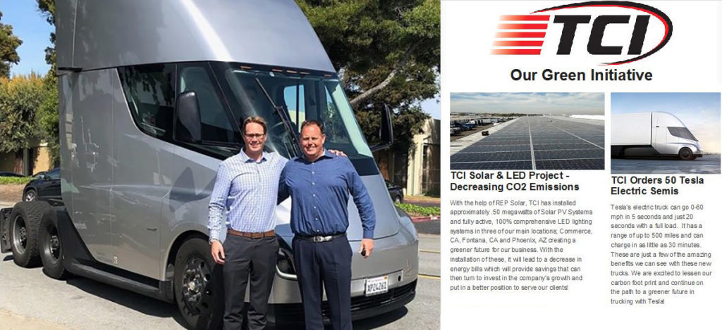 Tesla Semi order of 50 trucks by TCI Transportation
