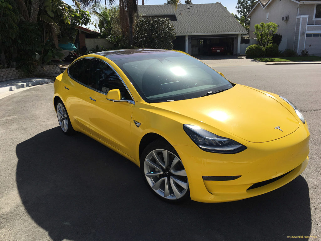 Yellow Tesla Model 3 - Front View