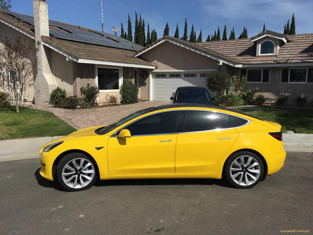 Yellow Tesla Model 3 - Side View