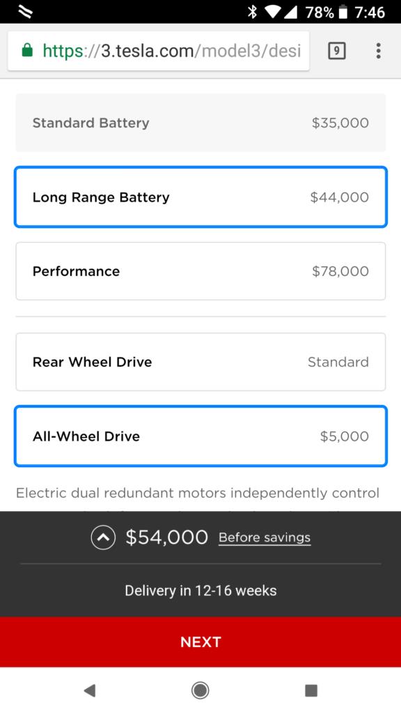 Tesla Model 3 Dual Motor in Tesla Design Studio