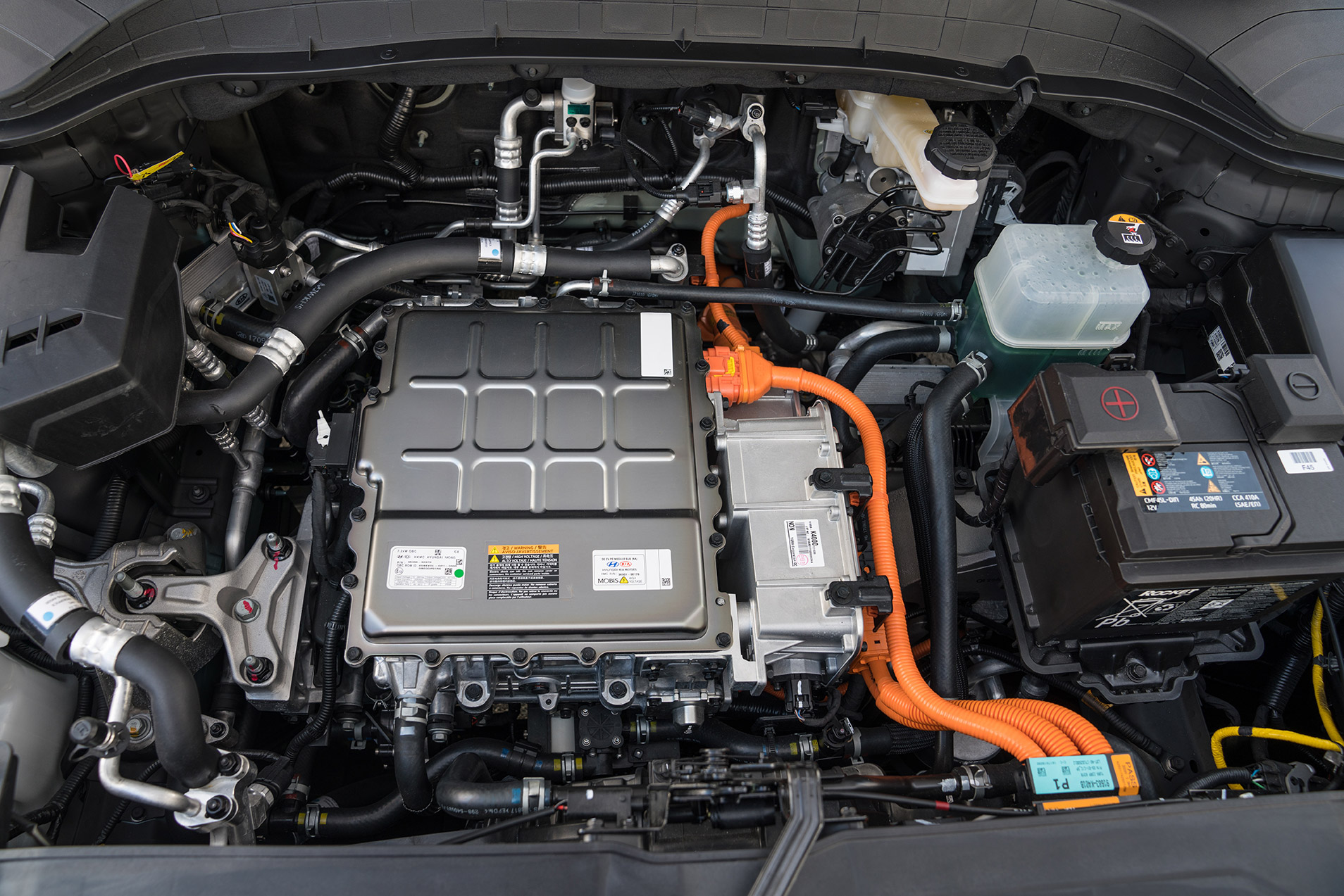A closer look under the 2019 Hyundai Kona Electric's hood