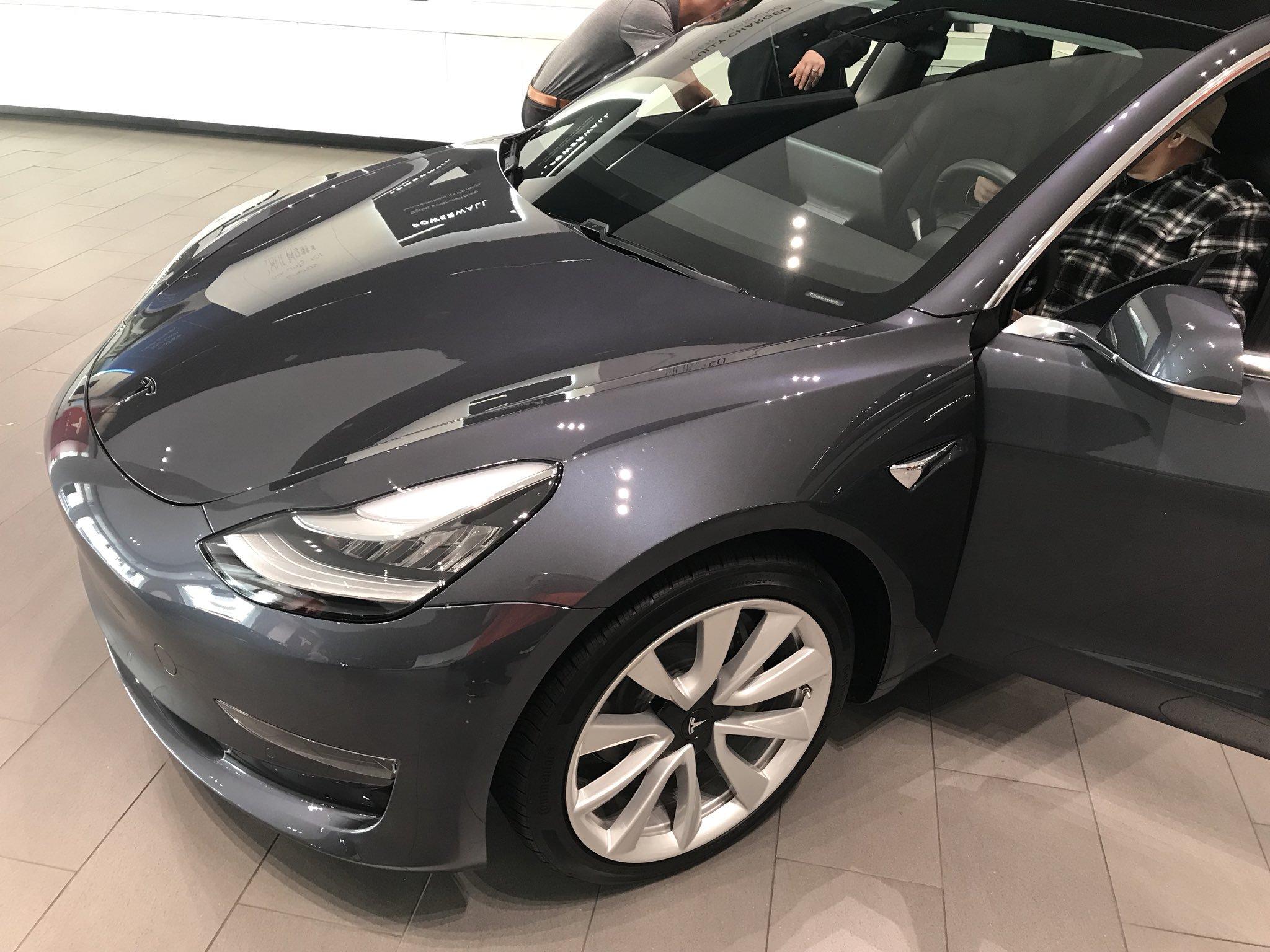 Midnight Silver Metallic Tesla Model 3 at Santana Row Showroom, Canada